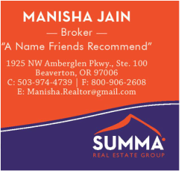 Bethany, Oregon Realtor - Manisha Jain